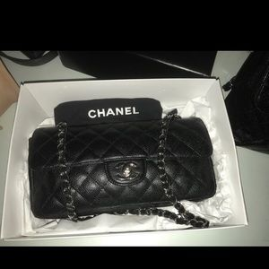 Authentic CHANEL Black Caviar East West Bag
